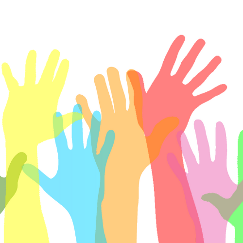 Volunteers Needed Image - colourful graphic of arms in the air